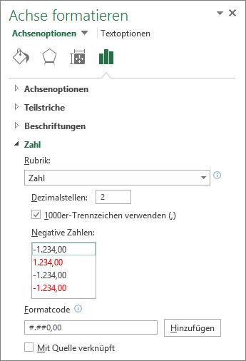 """Abschnitt """"Zahlenformat"""" in """"Achsenoptionen"""""""