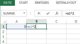 Die Formel befindet sich in der angrenzenden Zelle.
