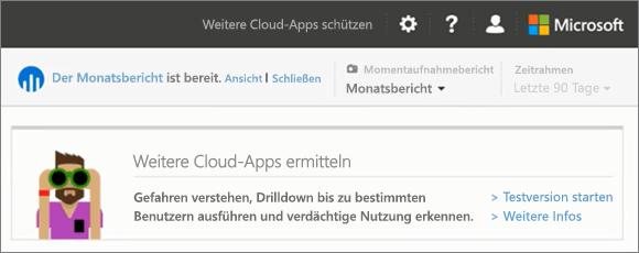 Screenshot zeigt die ermitteln Weitere Cloud-apps im Abschnitt im Produktivität App Discovery Dashboard des Office 365-Sicherheit & Compliance Center. Wählen Sie weitere oder Start-Testversion erfahren Sie mehr über die vollständige Cloud App Sicherheitsoption.