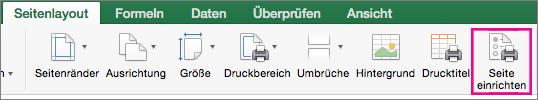 """Auf der Registerkarte """"Seitenlayout"""" die Option """"Seite einrichten"""" auswählen"""