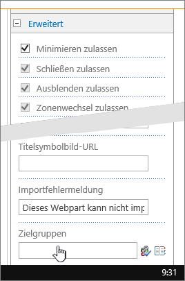 "Abschnitt ""Erweitert"" der Webparteigenschaften mit hervorgehobener Zielgruppe"