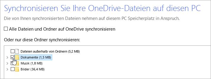 """Ein Screenshot, der das Dialogfeld """"Ihre OneDrive-Dateien mit diesem PC synchronisieren"""" zeigt"""