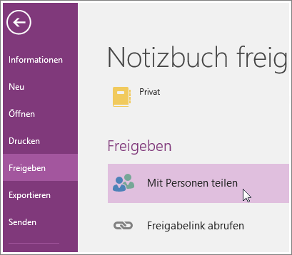 "Screenshot der Option ""Mit Personen teilen"" in OneNote 2016."