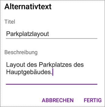 Hinzufügen von Alternativtext zu Bildern in OneNote für Android