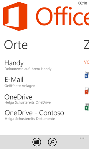 Orte in der Windows Phone Office-App