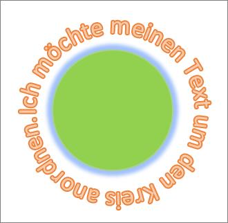 Text um eine Kreisform gebogen