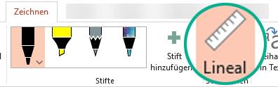 """Die Schablone """"Lineal"""" befindet sich in PowerPoint 2016 auf der Registerkarte """"Zeichnen"""" des Menübands."""