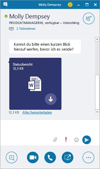 Screenshot eines Chatfensters mit einer eingehenden Anlage