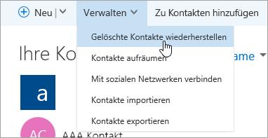 """Screenshot der Schaltfläche """"Gelöschte Kontakte wiederherstellen"""""""