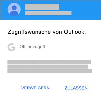 """Tippen Sie auf """"Zulassen"""", um Outlook Offlinezugriff zu gewähren."""