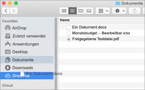 Mac Finder-Fenster mit Drag & Drop zum Verschieben von Dateien