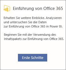 """Auswählen der Karte """"Erste Schritte bei der Office 365-Einführung"""""""