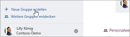 """Screenshot der Schaltfläche """"Neue Gruppe erstellen"""" auf Yammer.com"""