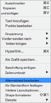 "Option ""Alternativtext in einem Kontextmenü, um einer Form Alternativtext hinzuzufügen"