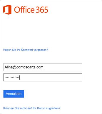 Anmelden bei Ihrem Organisationskonto in Outlook