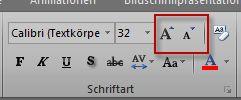 Gruppe 'Schriftart' in Excel
