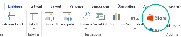 """Verwenden Sie die Schaltfläche """"Store"""" auf der Registerkarte """"Einfügen"""" im Office-Menüband zum Installieren von Office-Add-Ins."""
