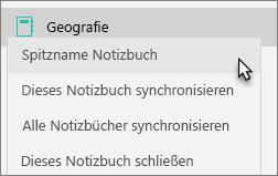 """Teamnotizbuch mit ausgewähltem Notizbuch """"Spitznamen"""""""