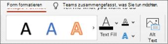"""Schaltfläche """"Alternativ Text"""" im Menüband für eine Form in PowerPoint für Mac."""
