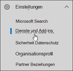 """Klicken Sie im Navigationsbereich auf das Symbol """"Einstellungen"""" und dann auf """"Dienste und Add-Ins""""."""