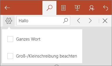 """Zeigt die Optionen für """"Suchen"""" in PowerPoint Mobile: """"Groß-/Kleinschreibung beachten"""" und """"Ganzes Wort""""."""