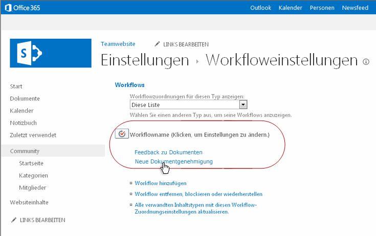 Link zum Ändern von Workfloweinstellungen