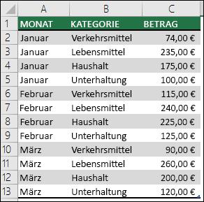 Beispieldaten für Haushaltsausgaben zum Erstellen einer PivotTable mit Monaten, Kategorien und Beträgen