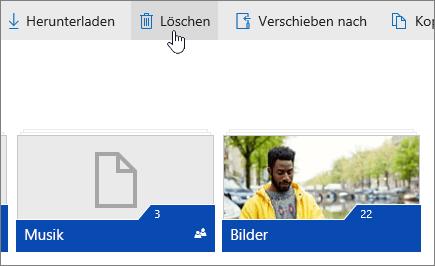 """Der Screenshot zeigt die Registerkarte """"Löschen"""" auf OneDrive.com."""