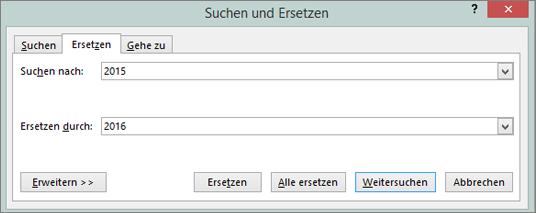 """Registerkarte """"Ersetzen"""" im Dialogfeld """"Suchen und Ersetzen"""""""