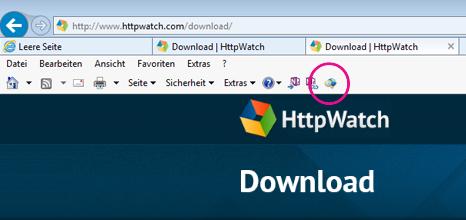 Befehlsleiste von Internet Explorer mit HTTPWatch-Symbol