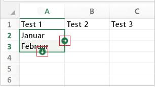 Pfeile für 'Datenreihe ausfüllen'