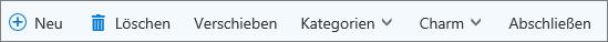 Aufgaben-Befehlsleiste für Outlook.com