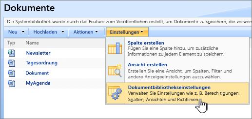 """Auswählen der Option """"Dokumentbibliothekseinstellungen"""" aus dem Menü """"Einstellungen"""""""