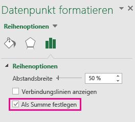 """Der Aufgabenbereich """"Datenpunkt formatieren"""" mit aktivierter Option """"Als Summe festlegen"""" in Office 2016 für Windows"""