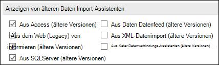 Abbildung der Optionen abrufen und Transformieren Legacy-Assistent aus Datei > Optionen > Daten.