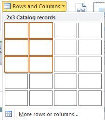 Zeilen und Spalten für das Katalogseitenlayout