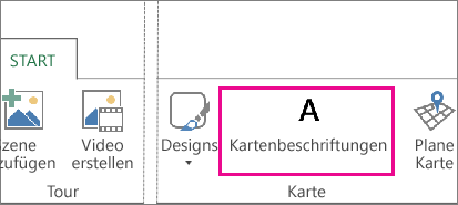 Schaltfläche 'Kartenbeschriftungen' auf der Power Map-Registerkarte 'Start'