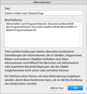 """Screenshot des Dialogfelds """"Alternativtext"""""""