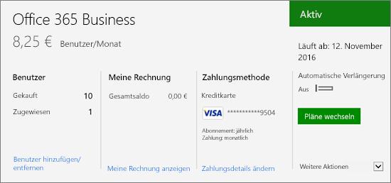 """Abonnement auf der Seite """"Abonnements"""" im Office 365 Admin Center, auf der Ihr Abonnement sowie dessen Status angezeigt werden"""