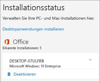 """Zeigt den Befehl """"Deaktivieren"""" für eine Office 365 Business-Installation."""