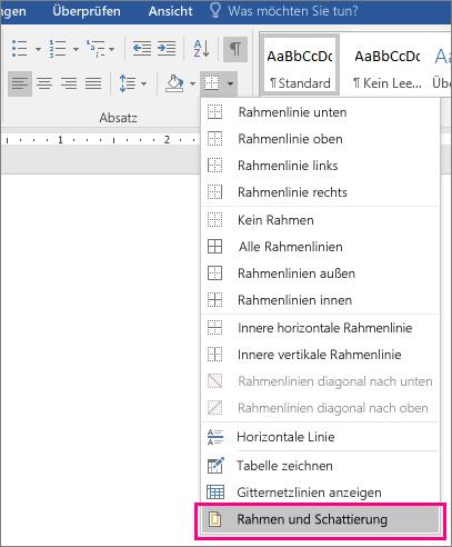 """Auf der Registerkarte """"Start"""" ist die Option """"Rahmen und Schattierungen"""" (unter """"Rahmen"""") hervorgehoben."""