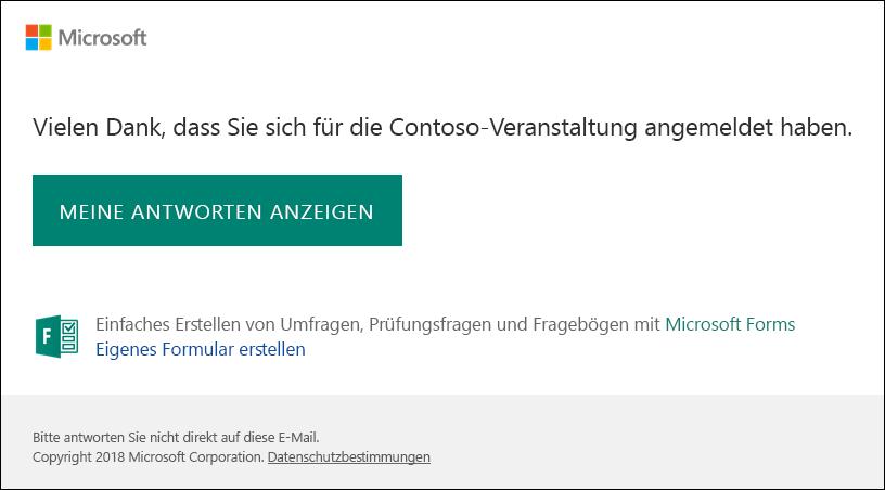 E-Mail-Bestätigungsmeldung und Link zu Antworten in Microsoft Forms