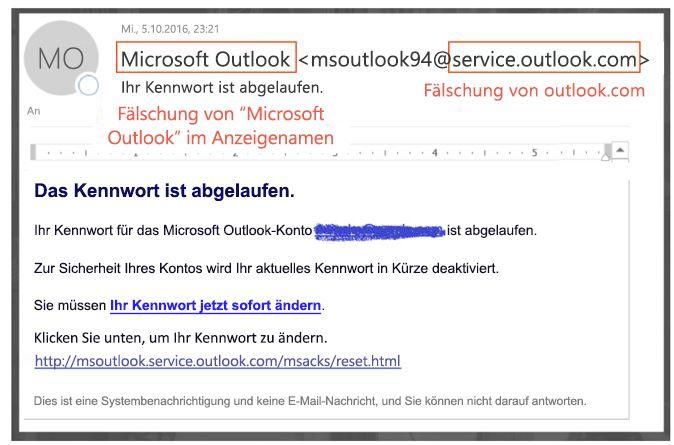 Phishing-Nachricht einen Identitätswechsel service.outlook.com