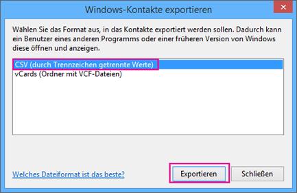 """Wählen Sie """"CSV"""" und dann """"Exportieren"""" aus."""