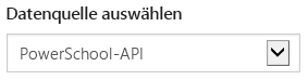 "Wählen Sie ""PowerSchool API"" im Dropdownfeld ""Select data source"" aus."