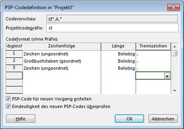 Bild des Dialogfelds 'PSP-Codedefinition'