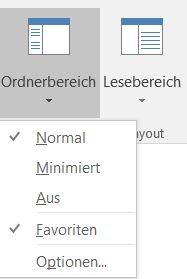 """Befehl """"Ordnerbereich"""" in Outlook 2016"""