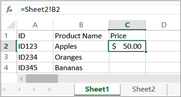 "Wordsheet showing ""sheet2"" in the formula bar"