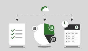 Eine Wolke mit nach unten weisenden Pfeilen, die auf eine Checkliste zeigen, ein Kreisdiagramm mit Fortschritt in verschiedenen Projekten und eine Arbeitszeittabelle