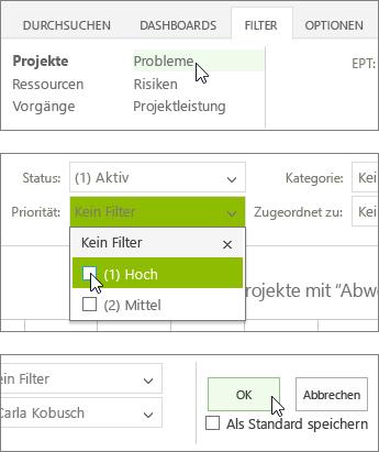 """Registerkarte """"Filter"""""""